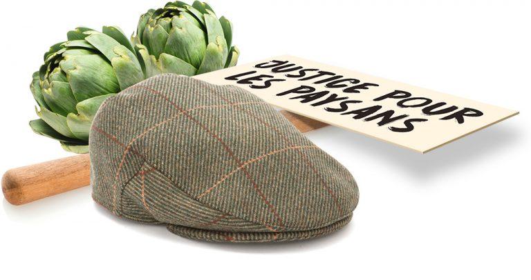 """pancarte """"juste pour les paysans"""" producteurs d'artichauds Sica"""