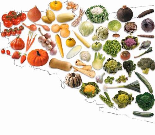 carte de Bretagne avec ses légumes