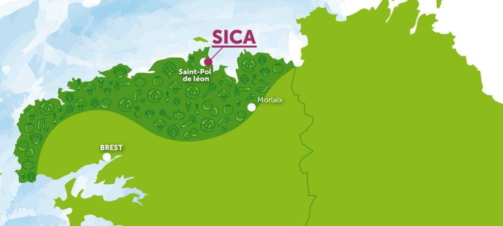 Carte du terroir de la Sica en Bretagne